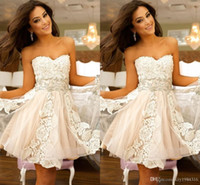 Wholesale White Ivory Lace Tulle Graduation Dresses Leaves Style Rhinstone Organza Mini Girls Homecoming Party Cocktail Short Prom Dresses Custom Made