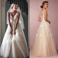 Wholesale 3D Floral Appliques Wedding Dresses V Neck Floor Length A Line Wedding Gowns Sequins Zipper High Quality Vintage Bridal Dress