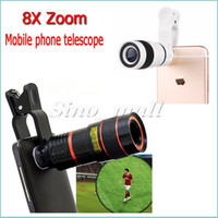 Wholesale 8x Zoom Optical Phone Telescope Mini Mobile Phone Lens For iphone6 s plus For Samsung S6 edge With Clip Free DHL