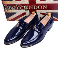 Wholesale Spring Autumn Men Dress Shoes Soft Pointed Toe Classic Fashion Business Oxford Shoes For Men Loafers Flat Patent Leather Black