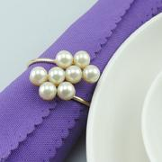 Wholesale Shiny Pearl Napkin Rings White Pearl Napkin Rings holder for Hotel Wedding Banquet Table Decoration Accessories