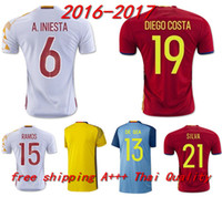 Wholesale 2016 soccer jersey Spain camiseta futbol ESPANA IKER CASILLAS DE GEA INIESTA FABREGAS MORATA DIEGO COSTA SERGIO RAMOS shirt