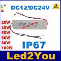 al por mayor 12 24v fuente de alimentación-De alta calidad 50W 80W 100W DC 12 / DC 24V Led controlador constante de corriente LED Switch modo de alimentación transformador impermeable blanco IP67 de plástico