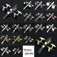 Wholesale 2016 Stainless Steel Enamel Cufflinks and Tie Clip Clasp Bar Set Gift Box Gift For Men French Shirt High Quality
