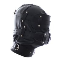 adult caps - New Adult Sex Toys Bdsm Bondage Cap Pu Leather Mask Slave Open Mouth And Eye Hood Toys For Couple Adult Head Gear Products