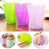 big planters - Big Size Colorful Flower Planter Tray Home Office Decor Crown Lace Plastic Flowerpot Resin Pots Colors Modern Style