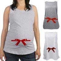 Wholesale New Arrivals Women s Maternity Pregnant T shirt Shirt Sleeveless Vest Ribbon Print Patterns Cotton Long KD35