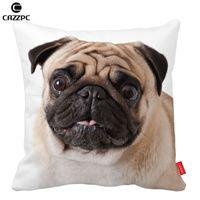 Wholesale Cute Pug Dog Big Face Pattern Print Custom Home Decorative Throw Pillow almofadas decorate pillow sofa chair cushion