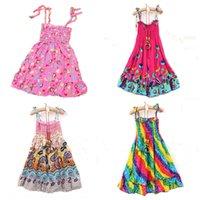 Wholesale 2015 Bohemia beach dresses child sleeveless one piece beach dress baby fashion casual short skirts DHL free MOQ SVS0030