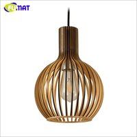Wholesale Solid Wood Secto Lamp Pendant Lamp Loft Brief E27 Cage Lamp Restaurant Bar Kitchen Suspension Lamp Project Luminaria