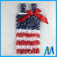america patriotic - DHL free summer kids girls baby th Of July Lace Petti Romper childrens Patriotic Rompers on sale America girls petti rompers