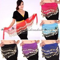 Wholesale Fedex DHL Free Rows Coins Belly Egypt Dance Hip Skirt Multi colors Scarf Wrap Belt Costume High quality Z320