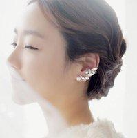 Wholesale Earrings Studs Jewrly Fashion Women Imitation Pearl Rhinestone Gold Plated Leaf Ear Cuff Drop Shipping piece ER580