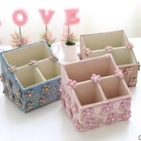 Wholesale 2016 autumn new product cloth lace desktop storage box flower basket cosmetics basket New literature and art