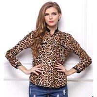 Wholesale Chiffon Longsleeve Shirt - Hot Sales Blusas 2016 New Leopard Shirts Women's Fashion Shirt Lapel Puff Slim Longsleeve Blouses Casual Shirt Women Blouse S053