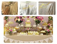 Wholesale x180cm Champagne Gold Silver Embroidery Mesh Sequin Tablecloth Sequin Table Overlay for Wedding Party Decora