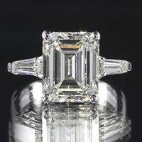 baguette anniversary rings - 3 ct GIA Emerald Baguette K Gold Engagement Ring D VVS2