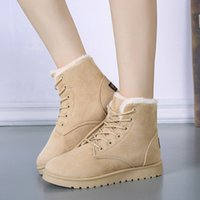 add snow - 5 Color Winter Add Wool With Thick Snow Lace up Grind arenaceous sued Short Boots