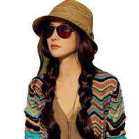 Wholesale Hot New Fashion Women Ladies Summer Hats Girls Casual Floppy Straw Sun Hat Striped Caps Bohemia Beach Hats For Women Cheap Z1