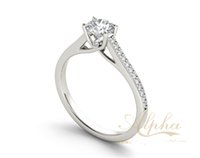 Wholesale Simple elegant sterling silver stylish thin style white gold plated forever birthstone brilliant moissanite engagement rings BER0230