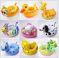 duck swim - Kids Cartoon Animal Swimming Ring Inflatable Water Toys Child Swim Float Boat Seat KT Tiger Duck LJJO07