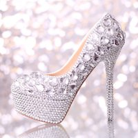 Wholesale Silver Handmade Wedding Shoes Crystals Rhinestones Bridal Wedding Pumps Shoes Diamond women Shoes Party Prom cm High Heels shoes
