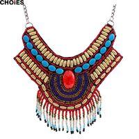 beaded tassel fringe - Women Multicolor Bohemian Style Beaded Tassel Fringe Necklace Long Ethnic Vintage Pendant New Brand Fashion