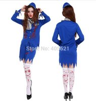 air stewardess costume - 10set Adults Female Women Ghost Bloody Stewardess Air HostessTwo peciece Garment Horror Halloween Roleplay Cosplay Costume