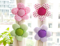 Wholesale Korean Cute Flower Decorative Curtain Tiebacks Curtain Holder Bedroom Curtain Tieback Drapery Hook Mix Color