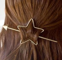 Wholesale 2016 new European and American Retro Personality pentagram arrow simple hairpin disk hairpin women hair accessories