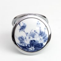 Wholesale New Blue and White Porcelain Ceramic Compact Folding Two side Vanity Mini Pocket Makeup Dual sided Magnifying Mirror