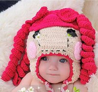 Wholesale Autumn Winter Crochet Knitted Lalaloopsy Hat Newborn Infant Toddler Baby Girls Knitted Hat Children Bowknot Wigs Beanie Cotton Honey Baby