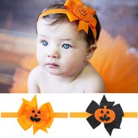 baby best designs - 2016 New Halloween Boutique Baby Bow Hairbands For Girls Pumpkin Hiar Accessories Elastic Hair Clasp With Skull Designs Kids Best Gift
