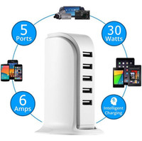 Wholesale Universal Port USB Chager Adapter Desktop Smart Quick Charger for iPhone iPad and other Smart Devices White