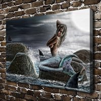 bathing mirrors - US high tech HD Print Oil Painting Wall Decor Art on Canvas Unframed Moonlight bathes a mermaid x18inch