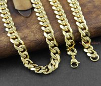 Wholesale customize Inch Men Necklace Gold Plated Stainless Steel Necklace Chain Figaro for Gift Trendy Jewelry HIP HOP