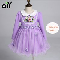 baby warmth - Baby Kids Clothing Girls Dresses Winter warmth Thicken Down Velvet Wedding princess Lace Ball Gown Lolita Style TuTu party dress