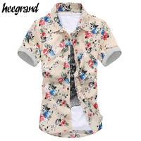 Wholesale 2016 Summer New Arrival Korean Floral Casual Shirts Short Sleeves Trend Beach Youth Slim Shirts For Men