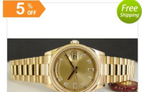 auto glass quality - 2016 High quality Luxury New Mens President Gold Champagne DIAMOND Automatic Sport Mens Watch Men