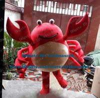 armed smile - Brisk Red Crab Granchio Mascot Costume Cartoon Character Mascotte Adult Even Teeth Thin Arms Round Eyes Smiling Face ZZ345 FS