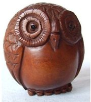 animal netsuke - cheap Refined Wooden Boxwood Netsuke cute owl figurine