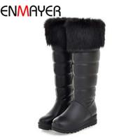 big rider - ENMAYER Big Size Snow Boots Warm Fur Winter Shoes Brand Design Flats Heel Round Toe Platform Rider Boots for Women