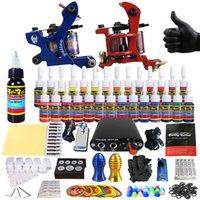 Wholesale SolongTattoo New Beginner Pro Machine Guns Tattoo Kit Power Supply Needle Grips tip color ink set TK204
