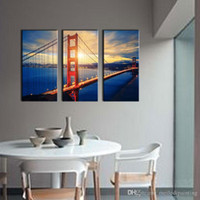 Wholesale 3 Picture Combination Wall Art For Home Decoration Golden Gate Bridge At Sunrise San Francisco Cityscape Bridge Landscape Canvas Print