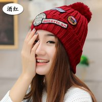 beanie women s green - Mink Fur Ball Cap Pom Poms Winter Hat For Women Girl S Wool Hat Knitted Cotton Beanies Caps Brand New Thick Female Cap