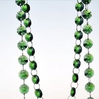 Wholesale 10M mm Green Octagon Crystal Beads connected with11mm rings Wedding Cake Decorative Crystal Garland Strand