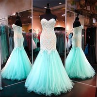 Cheap Aqua Nude Lace Mermaid Evening Gown 2016 Piping Prom Dresses With Sweetheart Sleeveless Applique Beads Tulle Lace Up Gorgeous Pageant Party