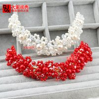 bendable jewelry - Original Korean wedding headdress handmade pearl beads bendable tiara bridal hair accessories hand beaded hair jewelry red