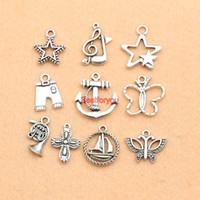antique boat anchor - Mixed Antique Silver Plated Star Boat Anchor Music Note Cross Charms Pendant Jewelry Making Diy Charm Handmade Crafts M062 jewelry making