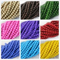 baking glass paint - Candy colors baking paint glass mm round beautiful hot sale loose beads jewelry making B1186